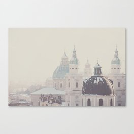 beneath the snow covered domes ... Canvas Print