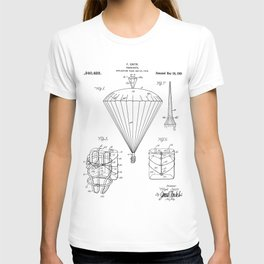 Parachute Patent - Sky Diving Art - Black And White T-shirt