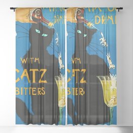 Mix Your Drinks with Catz (Cats) Bitters Aperitif Liquor Vintage Advertising Poster Sheer Curtain