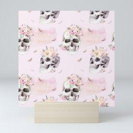 Floral Skull Pattern Mini Art Print