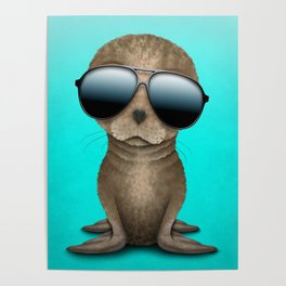 Cute Baby Seal Wearing Sunglasses Poster
