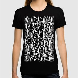 Four Waves - Freestyle Tribal Doodle Design - Black T-shirt