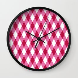 Pink rhombuses on white. Wall Clock