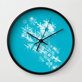 Snow Flakes of Hope Wall Clock