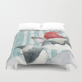 Winter Woodland Friends Cute Racoon Snowy Forest Illustration Duvet Cover