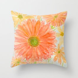Orange Coral and Yellow Daisy Watercolor Flower Throw Pillow