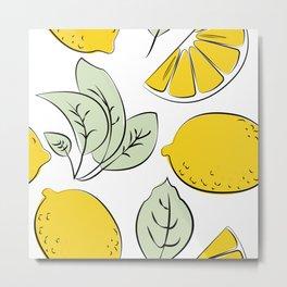 Summer Lemons Print Metal Print