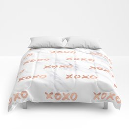 XOXO Text Rose Gold on Marble Comforters