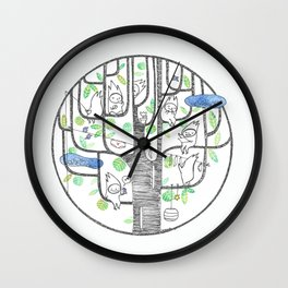 happy tree (black and green) Wall Clock