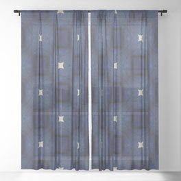 Blue and White Square Pattern Sheer Curtain