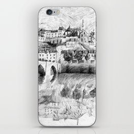 Terrasson village - France drawing iPhone Skin