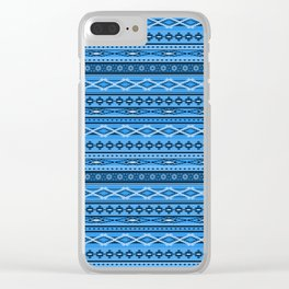 Modern Native Navajo Ethnic Tribal - Sky Blue Color Clear iPhone Case