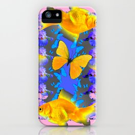 GOLDFISH & BUTTERFLIES PINK NURSERY ART iPhone Case