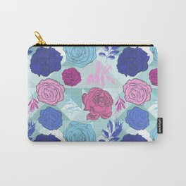 Beautiful Blue and Pink Floral Pattern Carry-All Pouch