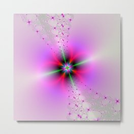 Floral Sprays in Pink and Green Metal Print