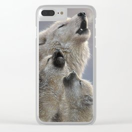 Wolf Pups Howling - Singing Lesson Clear iPhone Case