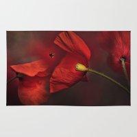 poppies Area & Throw Rugs featuring Poppies by Ellen van Deelen