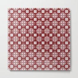 Red & White Floral Tile Pattern Metal Print