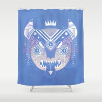 demon Shower Curtains featuring Sky Demon by LordofMasks