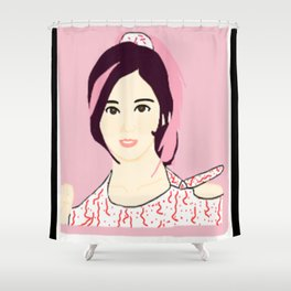 Knock Knock! Sana Pink Shower Curtain
