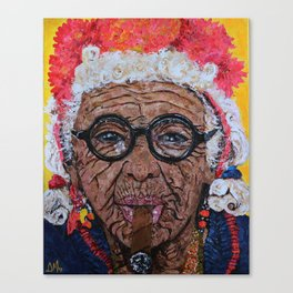 Old Cuban Lady with Cigar Canvas Print