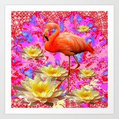 Pink Saffron Flamingo Yellow Water Lilies Deco Art Art Print