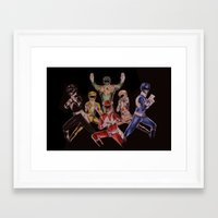 power rangers Framed Art Prints featuring Power Rangers by Sam Crotty