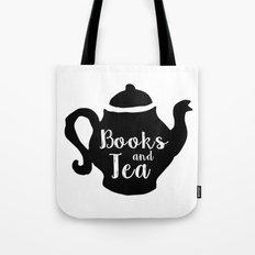 Books and Tea - B&W Tote Bag