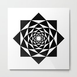 Black and white mandala, sacred geometry Metal Print