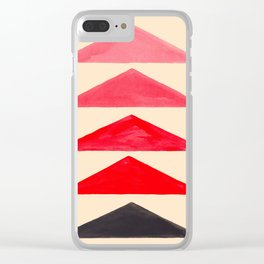 Red Watercolor Triangle Geometric Pattern Mid Century Modern Minimalist Colorful Painting Clear iPhone Case