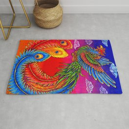 Colorful Fenghuang Chinese Phoenix Rainbow Bird Rug