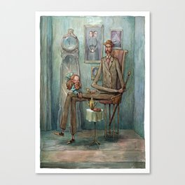 Visiting Grandpa Canvas Print