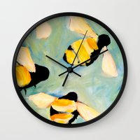 bees Wall Clocks featuring Bees by Claire Whitehead