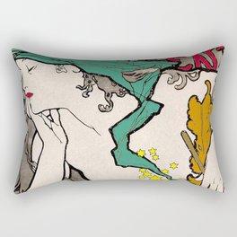 Vintage Alphonse Mucha Poster Girl Rectangular Pillow