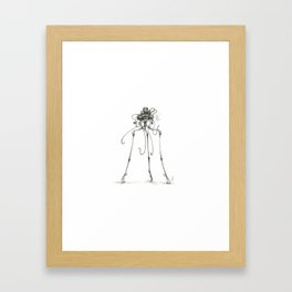 Martian Tripod Queen, Black and White Framed Art Print