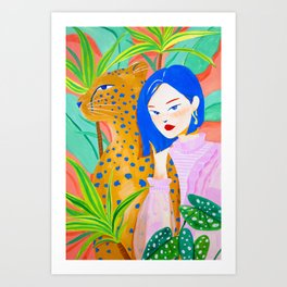 Short Hair Girl and Leopard in Garden Art Print