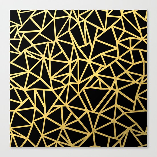 Abstract Outline Thick Gold Canvas Print
