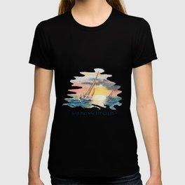 Sailing Yacht Club Blue Words Color T-shirt