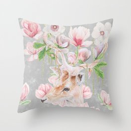 Deer Head & Magnolia's  Throw Pillow