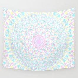 Pink, Yellow, and Cyan Mandala 2 Wall Tapestry