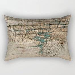 Rustic Wood Ages Gracefully - Beautiful Weathered Wooden Plank - knotty wood turquoise paint Rectangular Pillow