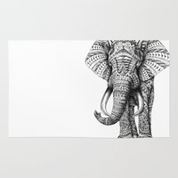 animal skull Area & Throw Rugs featuring Ornate Elephant by BIOWORKZ