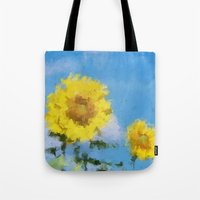 sunflowers Tote Bags featuring Sunflowers by Paul Kimble