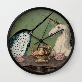 Narwhal & Unicorn Have Tea Wall Clock