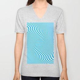 BLUE TWISTY STRIPES Abstract Art Unisex V-Neck