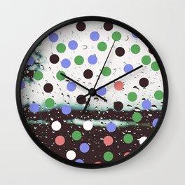 polka dotted rain Wall Clock