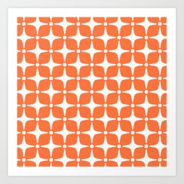 Mid Century Modern Star Pattern Orange 2 Art Print