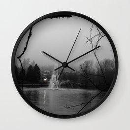 foggy grey fountain Wall Clock