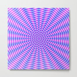Hypnotic Star Ripples in Pink and Blue Metal Print