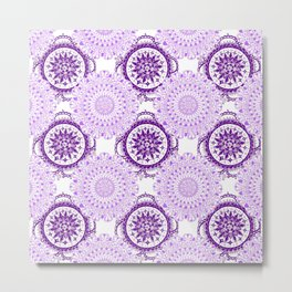 Purple Rhapsody Floral Mandalas Metal Print
